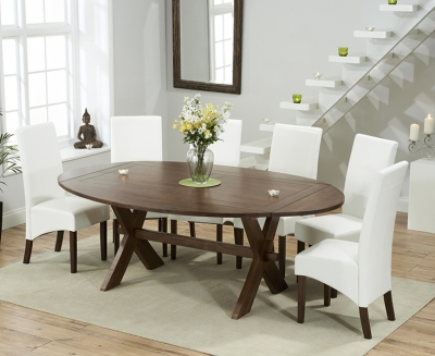 Mark Harris Avignon Solid Dark Oak 165cm Extending Dining Table with 6 WNG Ivory Chairs