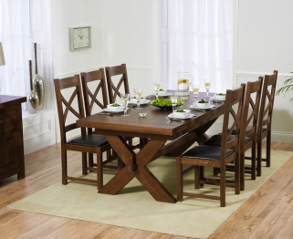 Mark Harris Avignon Solid Dark Oak 200cm Extending Dining Table with 6 Canterbury Dark Brown Chairs