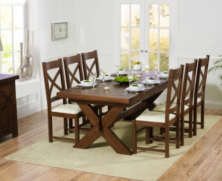 Mark Harris Avignon Solid Dark Oak 200cm Extending Dining Table with 6 Canterbury Dark Cream Chairs