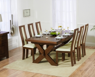 Mark Harris Avignon Solid Dark Oak 200cm Extending Dining Table with 6 Havana Cream Chairs