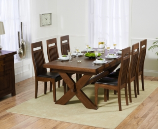 Mark Harris Avignon Solid Dark Oak 200cm Extending Dining Table with 6 Monte Carlo Dark Brown Chairs