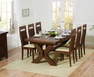 Mark Harris Avignon Solid Dark Oak 200cm Extending Dining Set with 6 Monte Carlo Dark Cream Dining Chairs