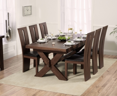 Mark Harris Avignon Solid Dark Oak Dining Set - 200cm Extending with 6 Arizona Dark Brown Chairs
