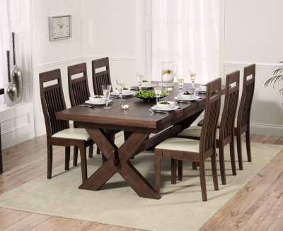 Mark Harris Avignon Dark Oak Extending Dining Table and 6 Monte Carlo Cream Chairs