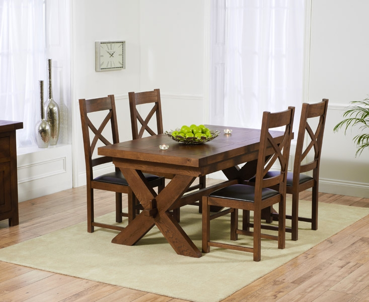 Mark Harris Avignon Solid Dark Oak 160cm Extending Dining Set with 4 Canterbury Dark Brown Dining Chairs
