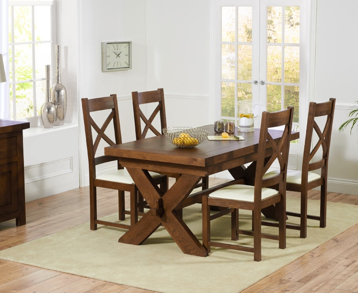 Mark Harris Avignon Solid Dark Oak 160cm Extending Dining Table with 4 Canterbury Dark Cream Chairs