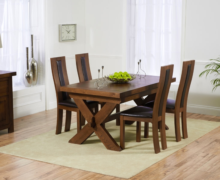 Mark Harris Avignon Solid Dark Oak 160cm Extending Dining Table with 4 Havana Dark Brown Chairs