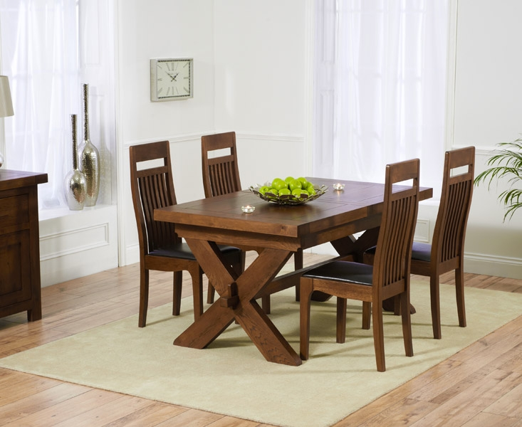 Mark Harris Avignon Solid Dark Oak 160cm Extending Dining Table with 4 Monte Carlo Dark Brown Chairs