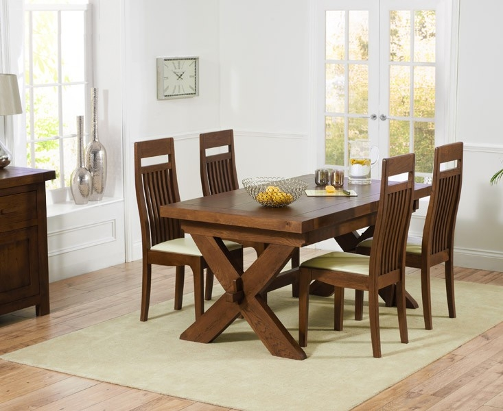 Mark Harris Avignon Solid Dark Oak 160cm Extending Dining Set with 4 Monte Carlo Dark Cream Dining Chairs