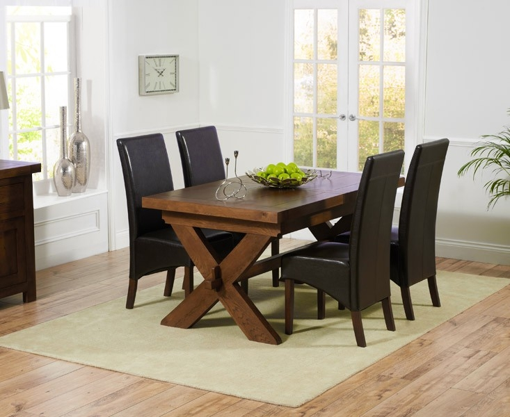 Mark Harris Avignon Solid Dark Oak 160cm Extending Dining Table with 4 WNG Brown Chairs