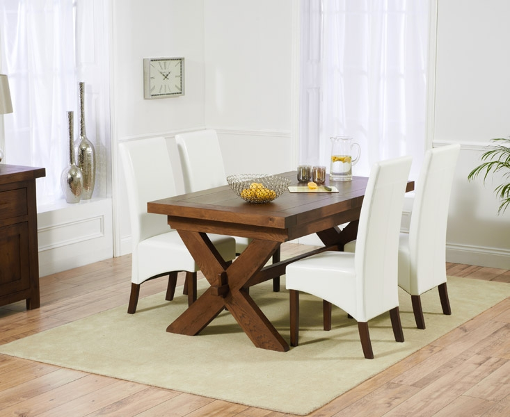 Mark Harris Avignon Solid Dark Oak 160cm Extending Dining Table with 4 WNG Ivory Chairs