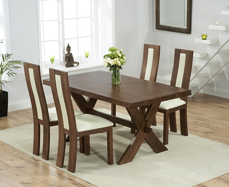 Mark Harris Avignon Solid Dark Oak 165cm Extending Dining Set with 4 Havana Cream Dining Chairs