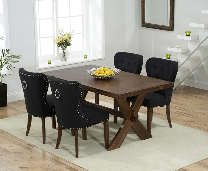 Mark Harris Avignon Solid Dark Oak 165cm Extending Dining Table with 4 Kalim Black Chairs