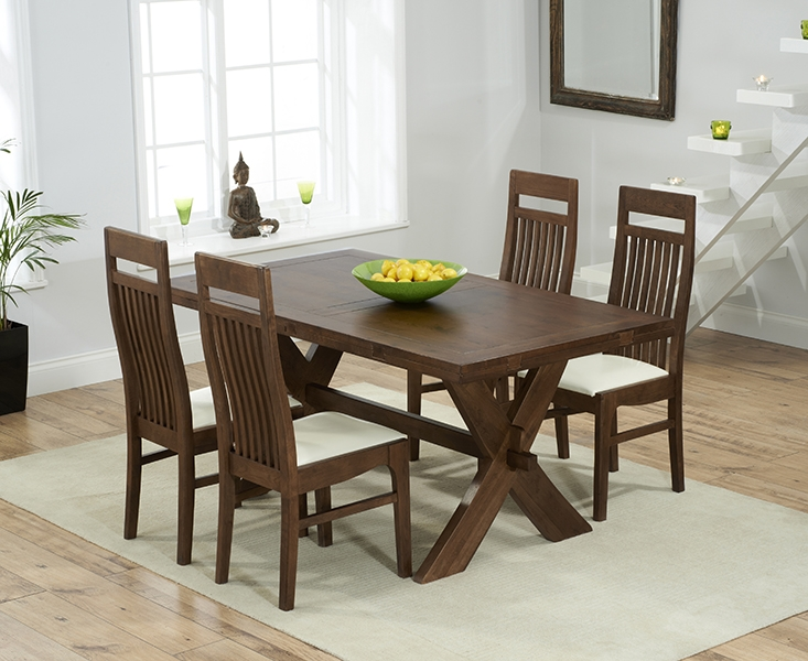 Mark Harris Avignon Solid Dark Oak 165cm Extending Dining Table with 4 Monte Carlo Cream Chairs