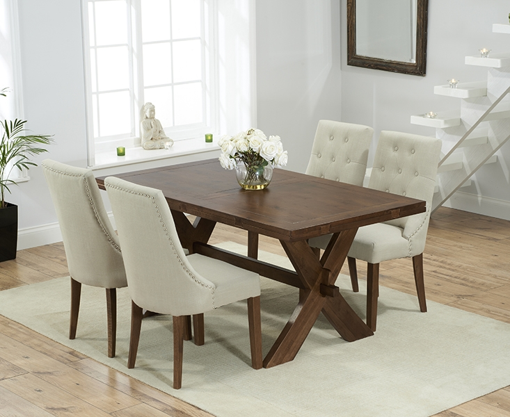 Mark Harris Avignon Solid Dark Oak 165cm Extending Dining Set with 4 Pailin Beige Dining Chairs