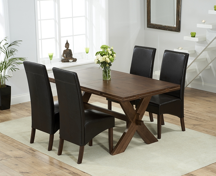 Mark Harris Avignon Solid Dark Oak 165cm Extending Dining Set with 4 WNG Brown Dining Chairs