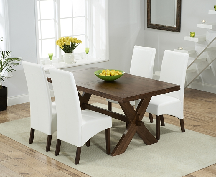 Mark Harris Avignon Solid Dark Oak 165cm Extending Dining Set with 4 WNG Ivory Dining Chairs