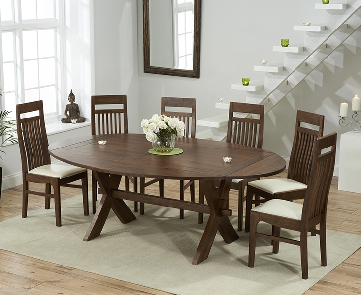 Mark Harris Avignon Solid Dark Oak 165cm Extending Dining Set with 6 Monte Carlo Cream Dining Chairs