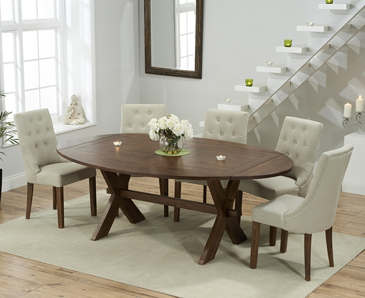 Mark Harris Avignon Solid Dark Oak 165cm Extending Dining Table with 6 Pailin Beige Chairs