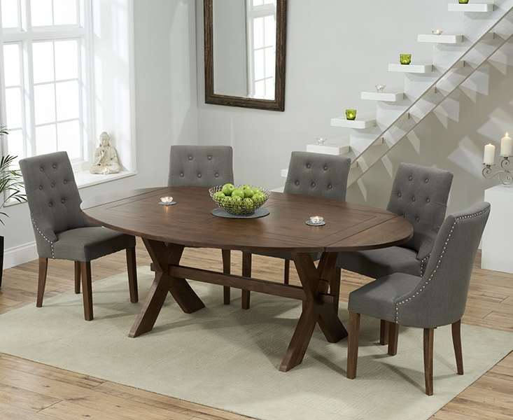 Mark Harris Avignon Solid Dark Oak 165cm Extending Dining Table with 6 Pailin Grey Chairs