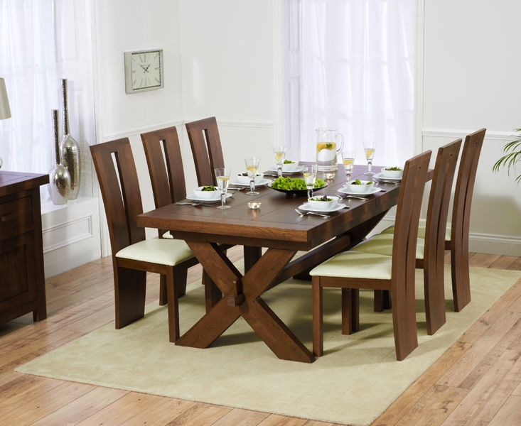Mark Harris Avignon Solid Dark Oak 200cm Extending Dining Table with 6 Arizona Dark Cream Chairs