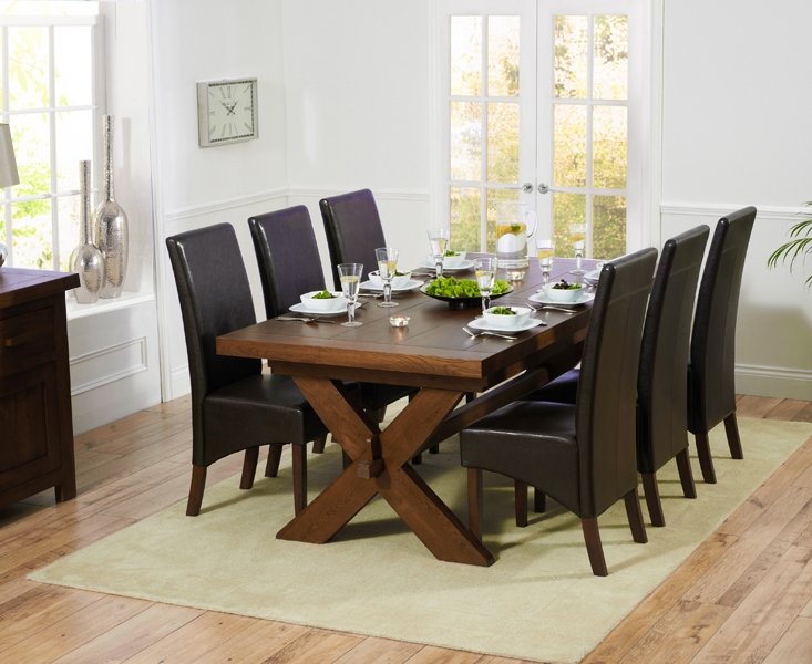 Mark Harris Avignon Solid Dark Oak 200cm Extending Dining Set with 6 WNG Brown Dining Chairs