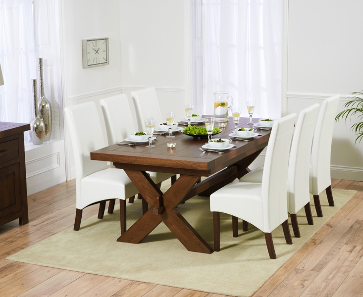Mark Harris Avignon Solid Dark Oak 200cm Extending Dining Table with 6 WNG Ivory Chairs