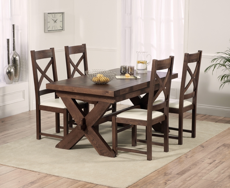 Mark Harris Avignon Solid Dark Oak Dining Set - 160cm Extending with 4 Canterbury Dark Cream Chairs