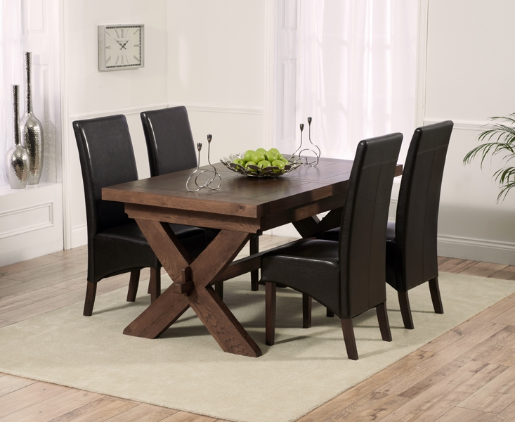 Mark Harris Avignon Solid Dark Oak Dining Set - 160cm Extending with 4 WNG Brown Chairs