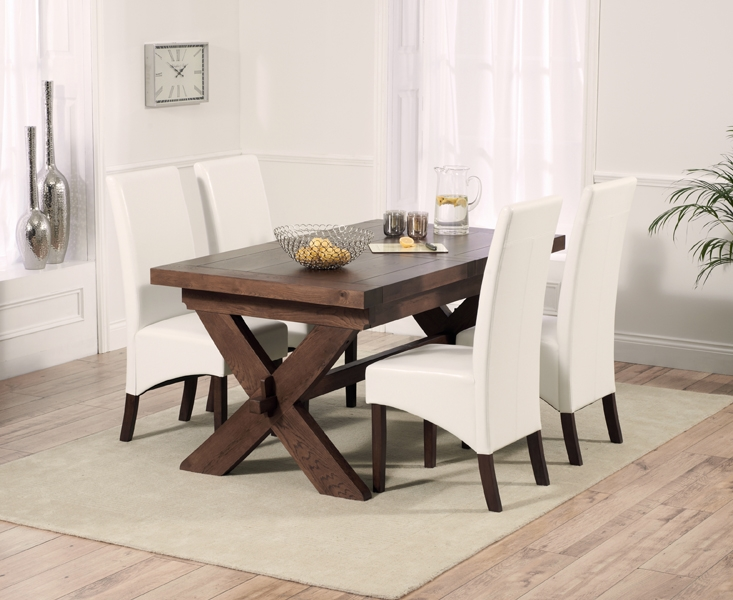 Mark Harris Avignon Solid Dark Oak Dining Set - 160cm Extending with 4 WNG Ivory Chairs