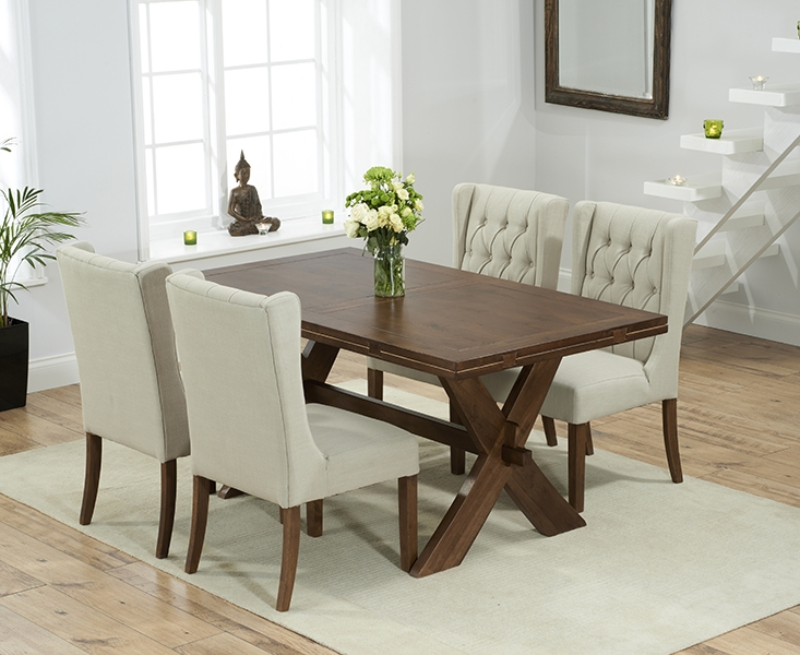 Mark Harris Avignon Solid Dark Oak Dining Set - 165cm Extending with 4 Stefini Beige Chairs