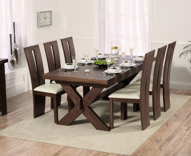 Mark Harris Avignon Solid Dark Oak Dining Set - 200cm Extending with 6 Arizona Dark Cream Chairs