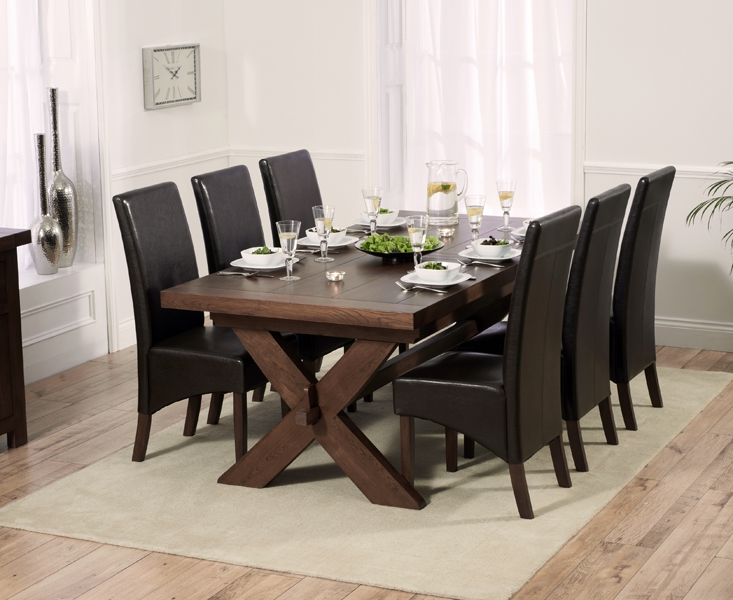 Mark Harris Avignon Solid Dark Oak Dining Set - 200cm Extending with 6 WNG Brown Chairs