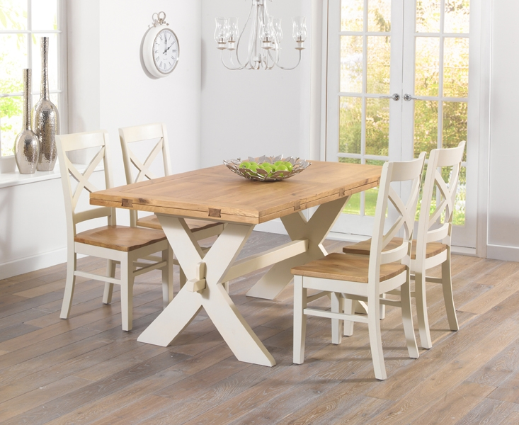 Buy mark harris avignon oak and cream 165cm extending for Cream kitchen set