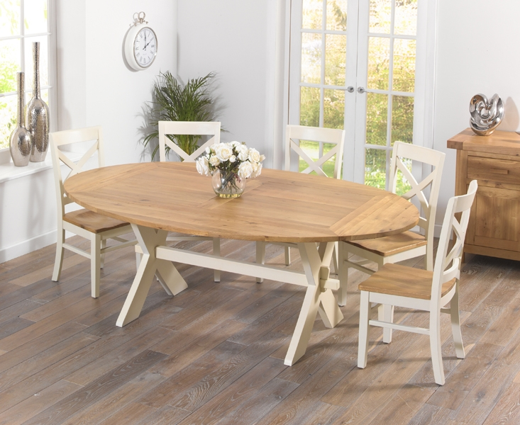 Mark Harris Avignon Oak and Cream 165cm Extending Dining Set with 6 Cavanaugh Dining Chairs