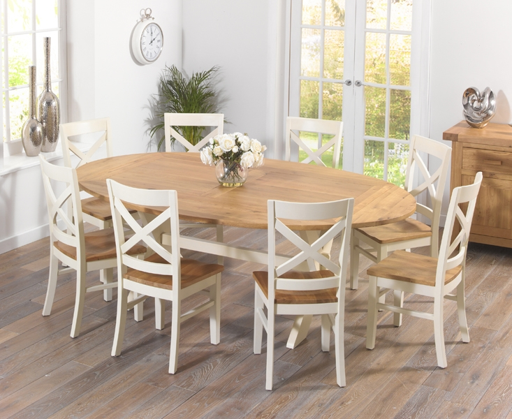 Mark Harris Avignon Oak and Cream 165cm Extending Dining Set with 8 Cavanaugh Dining Chairs