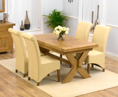 Mark Harris Avignon Solid Oak 160cm Extending Dining Set with 4 Barcelona Cream Dining Chairs