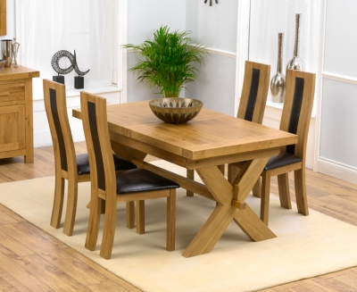 Mark Harris Avignon Solid Oak 160cm Extending Dining Set with 4 Havana Brown Dining Chairs