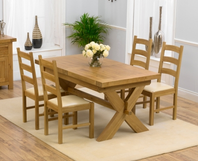 Mark Harris Avignon Solid Oak 160cm Extending Dining Set with 4 Valencia Cream Dining Chairs