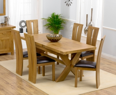 Mark Harris Avignon Solid Oak 160cm Extending Dining Set with 6 Arizona Brown Dining Chairs