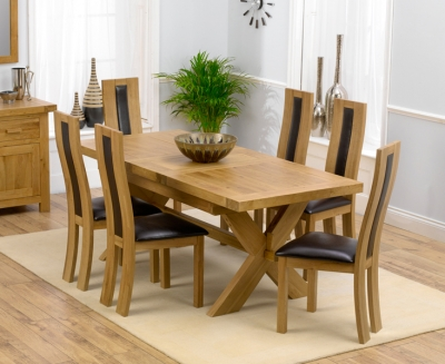 Mark Harris Avignon Solid Oak 160cm Extending Dining Set with 6 Havana Brown Dining Chairs