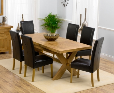 Mark Harris Avignon Solid Oak 160cm Extending Dining Set with 6 Rustique Brown Chairs