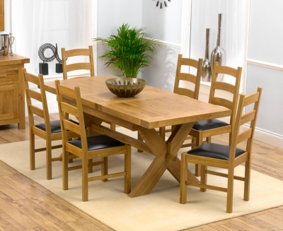Mark Harris Avignon Solid Oak 160cm Extending Dining Set with 6 Valencia Brown Dining Chairs