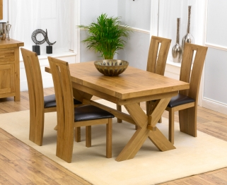 Mark Harris Avignon Solid Oak 160cm Extending Dining Table with 4 Arizona Brown Chairs