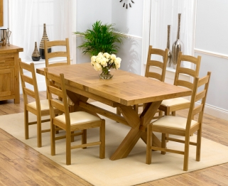 Mark Harris Avignon Solid Oak 160cm Extending Dining Table with 6 Valencia Cream Chairs