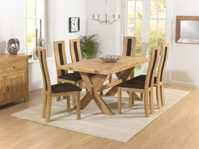 Mark Harris Avignon Solid Oak 165cm Extending Dining Set with 6 Havana Brown Dining Chairs