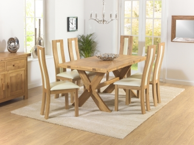 Mark Harris Avignon Solid Oak 165cm Extending Dining Set with 6 Havana Cream Dining Chairs