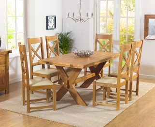 Mark Harris Avignon Solid Oak 165cm Extending Dining Table with 6 Canterbury Cream Chairs