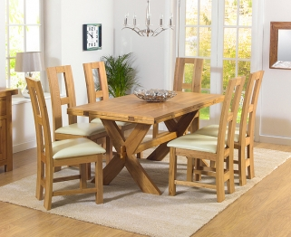 Mark Harris Avignon Solid Oak 165cm Extending Dining Table with 6 John Louis Cream Chairs