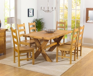 Mark Harris Avignon Solid Oak 165cm Extending Dining Table with 6 Valencia Timber Chairs